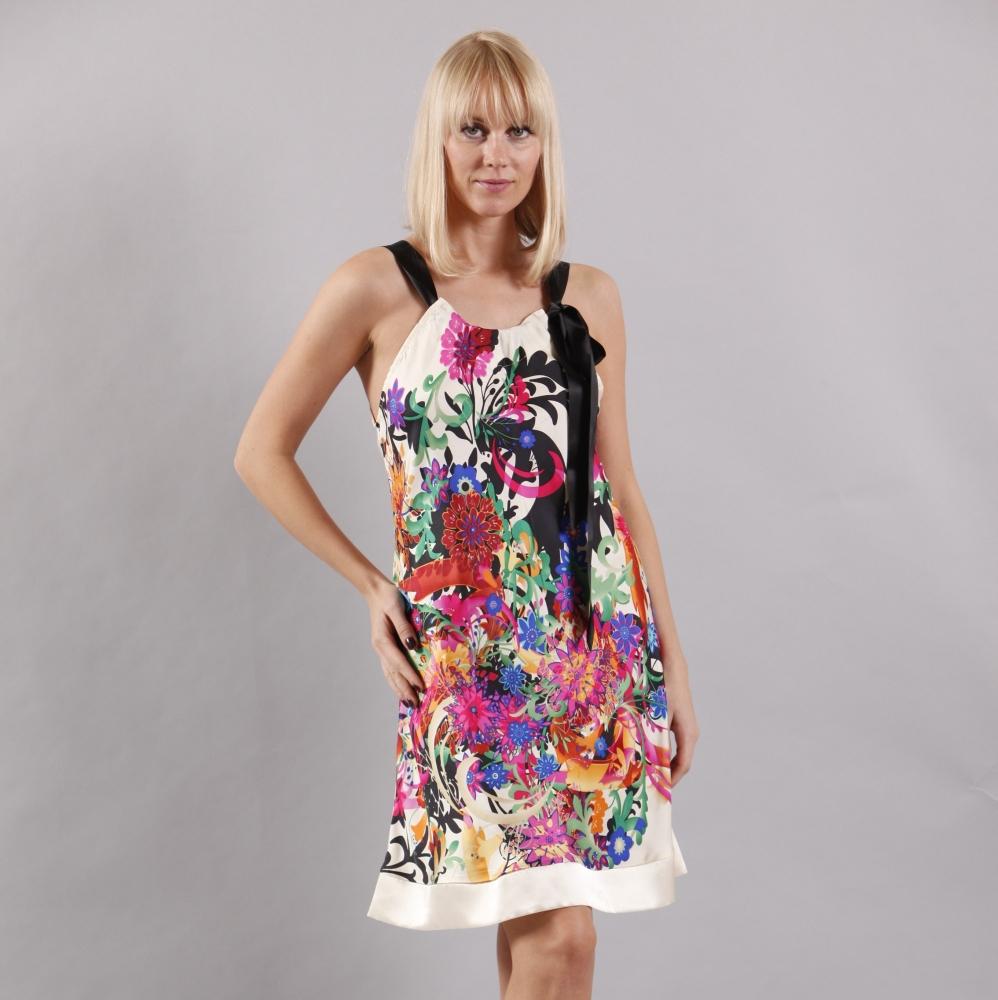 Seidennachthemd Sommerkleid Seide Eva B. Bitzer mit Blumendruck