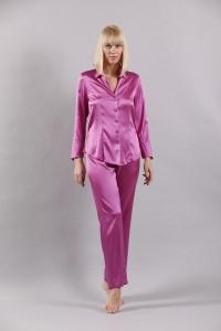 Schlafanzug aus Stretch- Seide in Orchidee- Pink von Eva B. Bitzer