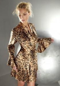 Seiden- Morgenmantel Leopard Gattina