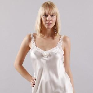 Nachtkleid Seide Rosaly in Champagner-Weiß von Eva B. Bitzer