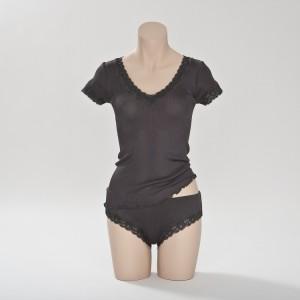 Seiden- T-Shirt Curacao Antrazit von Gattina Dessous
