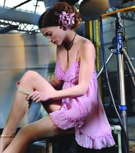 Seiden- Baby-Doll aus Seidengeorgette flieder von Marjolaine