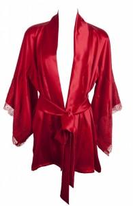 Sally Jones: Seiden-Robe Tiffany rubin-rot