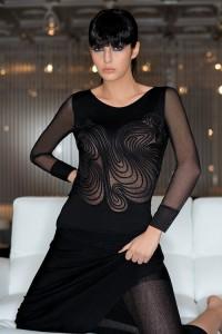 Tüll-Modal Shirt Thalie schwarz von Exilia Lingerie