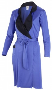 Morgenmantel Seide royalblau/schwarz aus Seidenjersey von Gattina