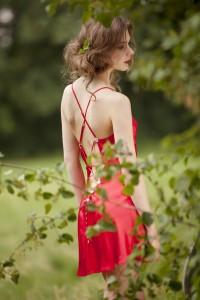 Seidennachthemd Libertine in Valentins-Rot von Marjolaine