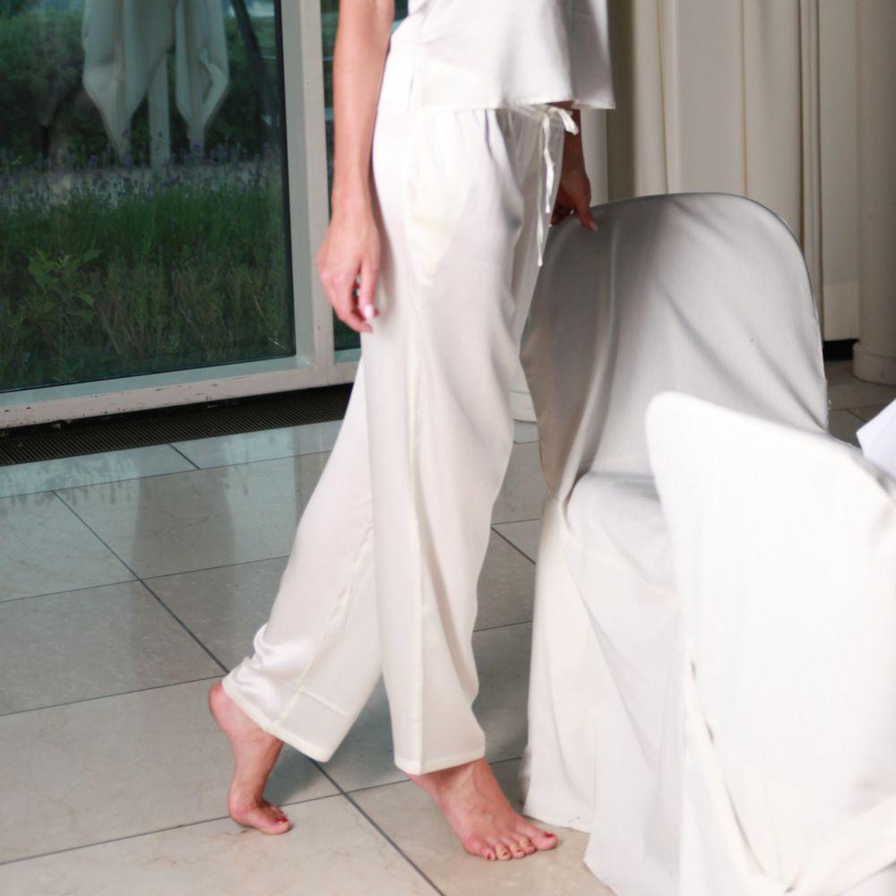 100% Seide Pyjama-Hose Seduzione di Seta champagner-weiß von Gattina
