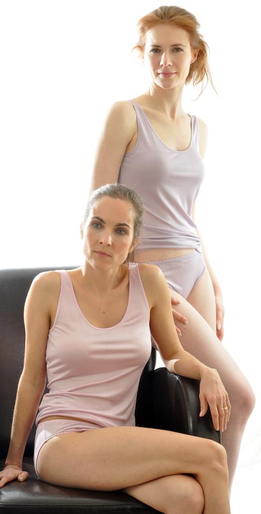 Bio-Seide Unterhemd malve und rosenquarz von Alkena