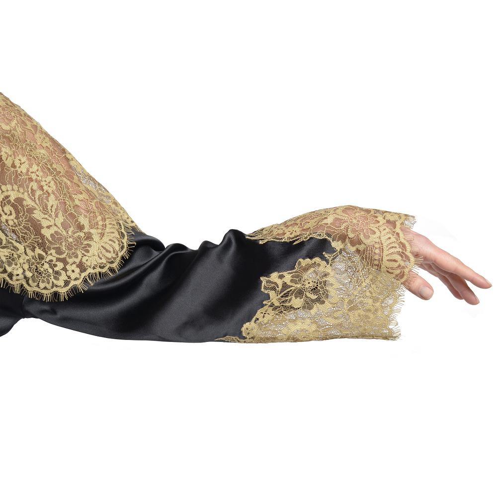 Seide Morgenmantel Serenata Schwarz-Gold von Gattina