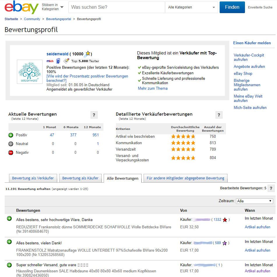 Seidenwald 10.000 Bewertungen bei ebay